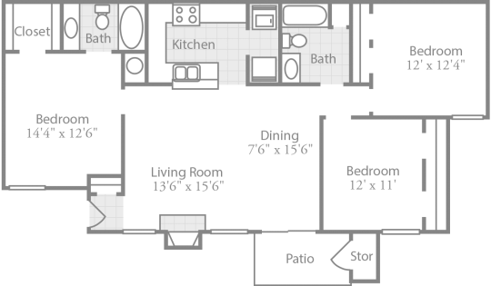3 Bedroom Floor Plans | Crowne Park: Stylish Apartments in ...